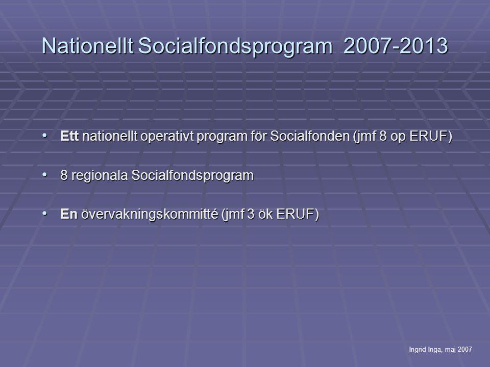 Nationellt Socialfondsprogram 2007-2013 • Ett nationellt operativt program för Socialfonden (jmf 8 op ERUF) • 8 regionala Socialfondsprogram • En övervakningskommitté (jmf 3 ök ERUF) Ingrid Inga, maj 2007