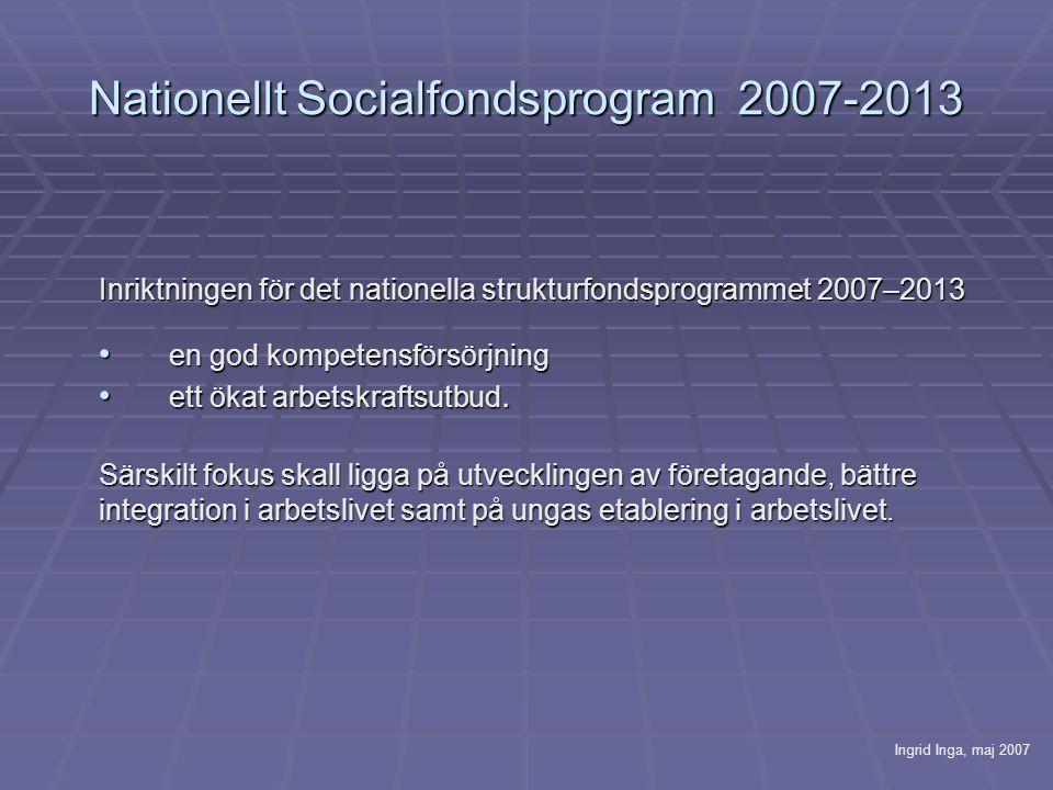 Nationellt Socialfondsprogram 2007-2013 Inriktningen för det nationella strukturfondsprogrammet 2007–2013 • en god kompetensförsörjning • ett ökat arbetskraftsutbud.