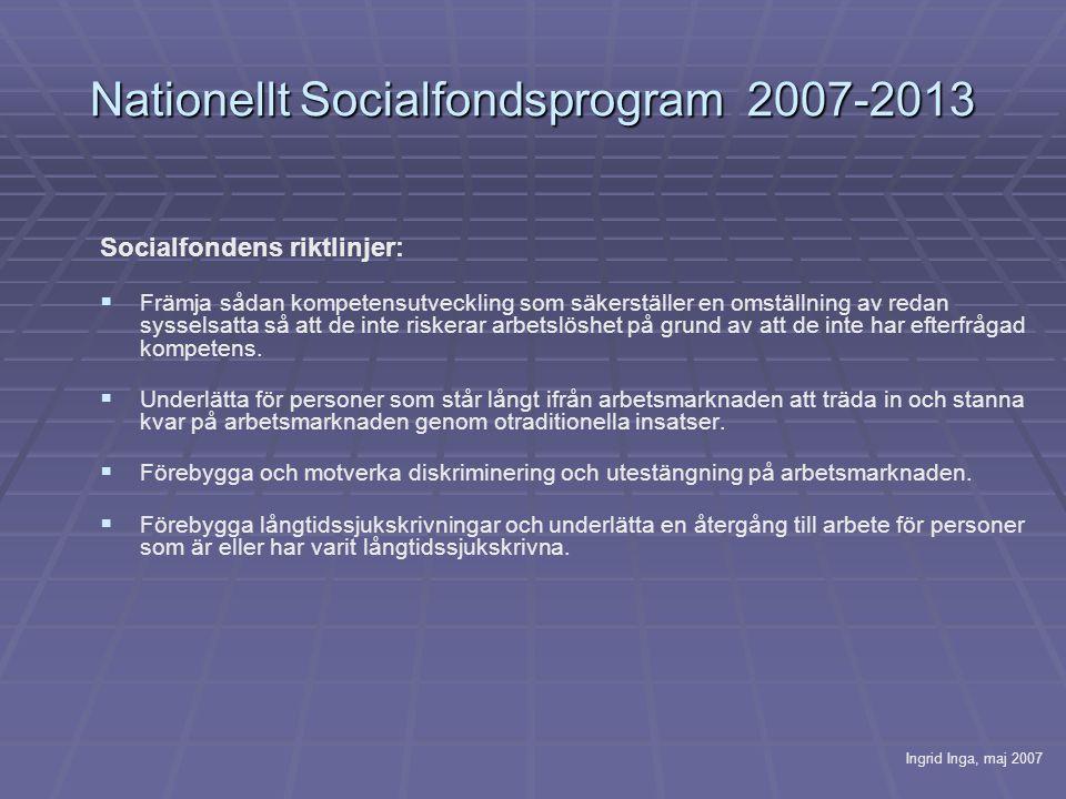 Nationellt Socialfondsprogram 2007-2013 Socialfondens riktlinjer:   Främja sådan kompetensutveckling som säkerställer en omställning av redan sysselsatta så att de inte riskerar arbetslöshet på grund av att de inte har efterfrågad kompetens.