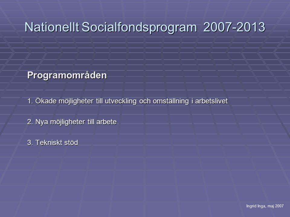 Nationellt Socialfondsprogram 2007-2013 Programområden 1.