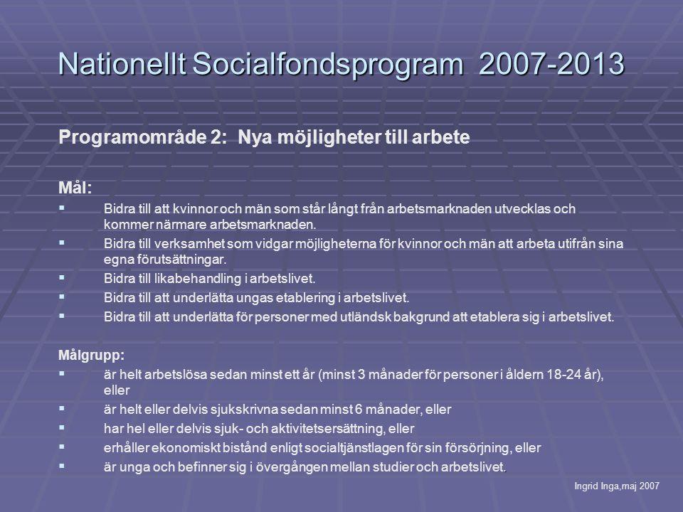 Nationellt Socialfondsprogram 2007-2013 Programområde 2: Nya möjligheter till arbete Mål:   Bidra till att kvinnor och män som står långt från arbetsmarknaden utvecklas och kommer närmare arbetsmarknaden.