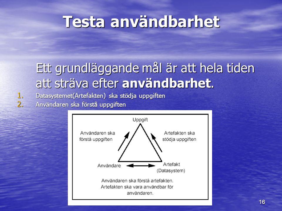 16 Testa användbarhet Ett grundläggande mål är att hela tiden att sträva efter användbarhet. 1. Datasystemet(Artefakten) ska stödja uppgiften 2. Använ