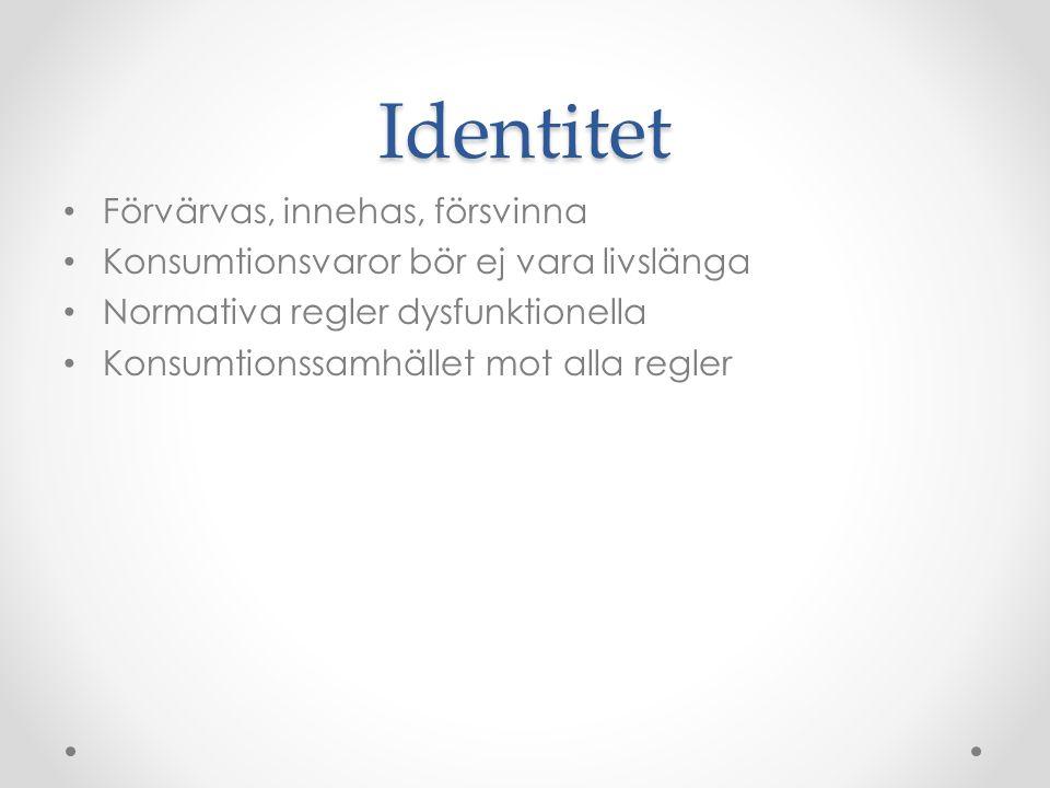 Identitet • Förvärvas, innehas, försvinna • Konsumtionsvaror bör ej vara livslänga • Normativa regler dysfunktionella • Konsumtionssamhället mot alla
