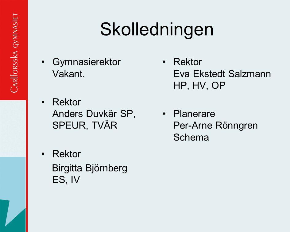 Skolledningen •Gymnasierektor Vakant. •Rektor Anders Duvkär SP, SPEUR, TVÄR •Rektor Birgitta Björnberg ES, IV •Rektor Eva Ekstedt Salzmann HP, HV, OP