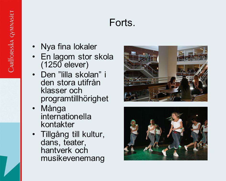 """Forts. •Nya fina lokaler •En lagom stor skola (1250 elever) •Den """"lilla skolan"""" i den stora utifrån klasser och programtillhörighet •Många internation"""