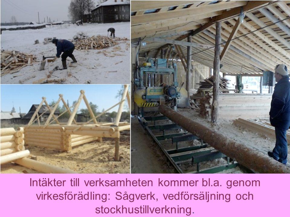 13 Intäkter till verksamheten kommer bl.a. genom virkesförädling: Sågverk, vedförsäljning och stockhustillverkning.
