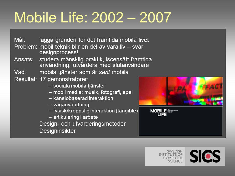 Mobile Life: 2002 – 2007 Mål:lägga grunden för det framtida mobila livet Problem: mobil teknik blir en del av våra liv – svår designprocess.