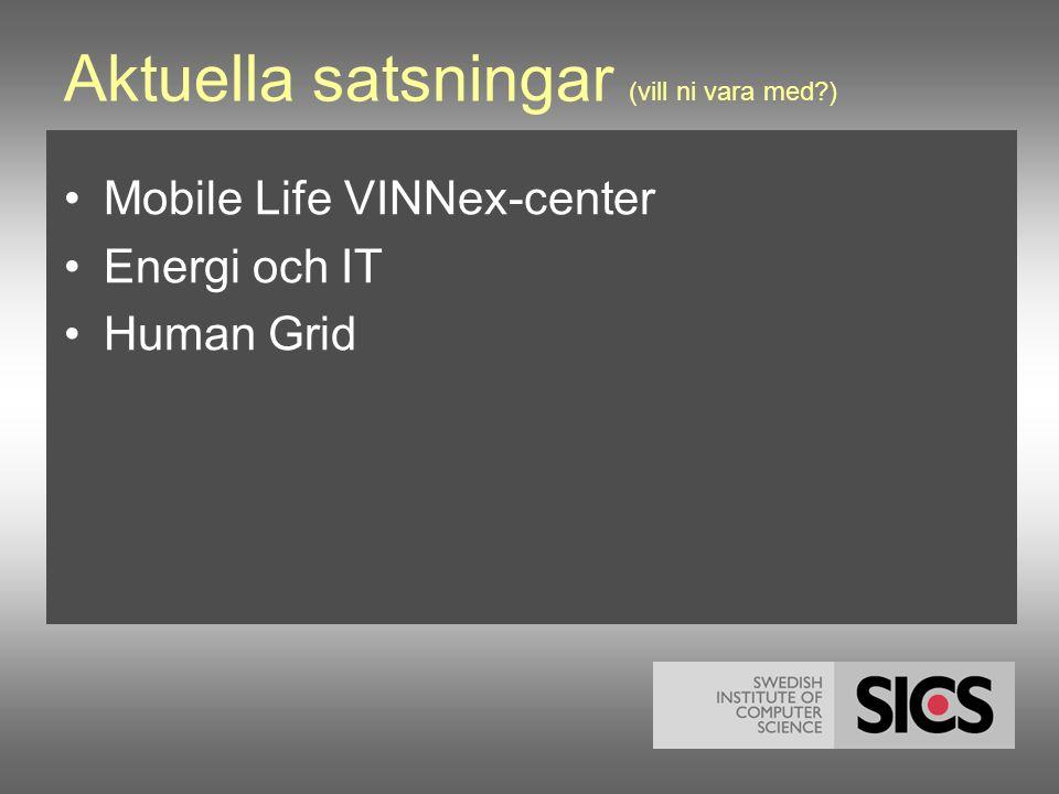 Aktuella satsningar (vill ni vara med ) •Mobile Life VINNex-center •Energi och IT •Human Grid