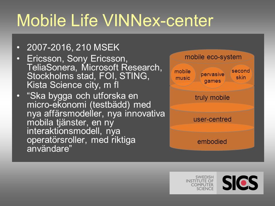 Mobile Life VINNex-center •2007-2016, 210 MSEK •Ericsson, Sony Ericsson, TeliaSonera, Microsoft Research, Stockholms stad, FOI, STING, Kista Science city, m fl • Ska bygga och utforska en micro-ekonomi (testbädd) med nya affärsmodeller, nya innovativa mobila tjänster, en ny interaktionsmodell, nya operatörsroller, med riktiga användare mobile eco-system mobile music pervasive games second skin truly mobile embodied user-centred