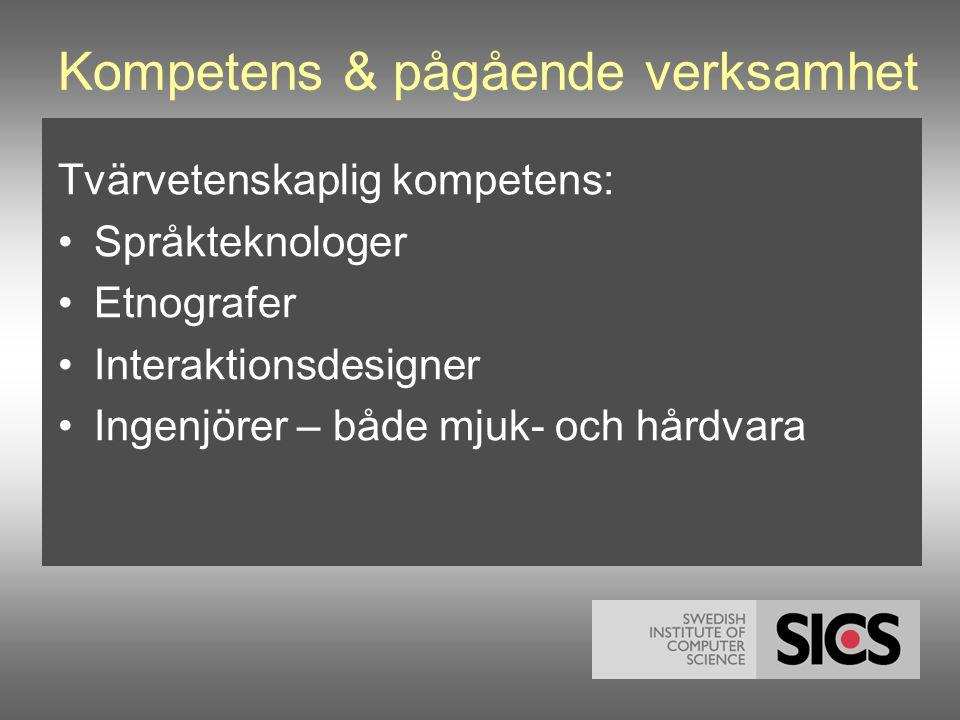 Kompetens & pågående verksamhet Tvärvetenskaplig kompetens: •Språkteknologer •Etnografer •Interaktionsdesigner •Ingenjörer – både mjuk- och hårdvara