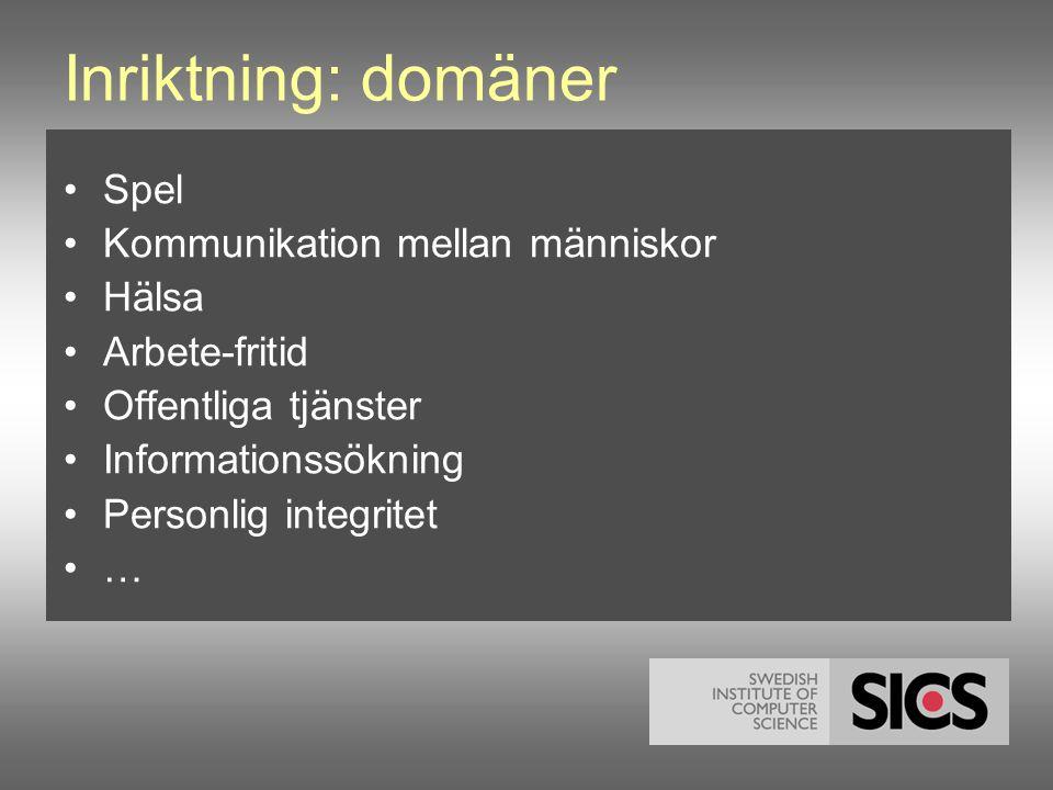Inriktning: domäner •Spel •Kommunikation mellan människor •Hälsa •Arbete-fritid •Offentliga tjänster •Informationssökning •Personlig integritet •…