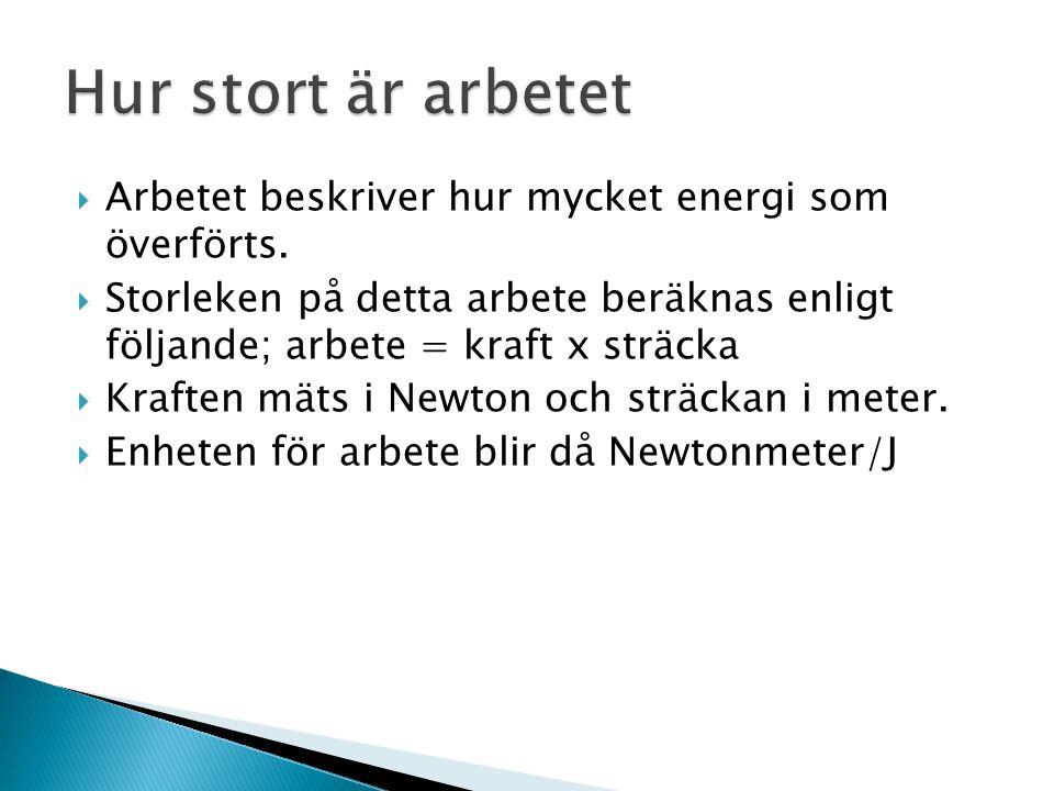  Arbetet beskriver hur mycket energi som överförts.  Storleken på detta arbete beräknas enligt följande; arbete = kraft x sträcka  Kraften mäts i N