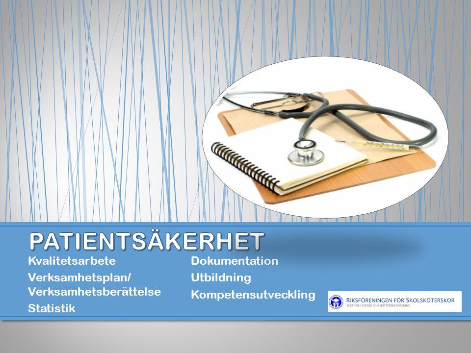 Kvalitetsarbete Verksamhetsplan/ Verksamhetsberättelse Statistik Dokumentation Utbildning Kompetensutveckling