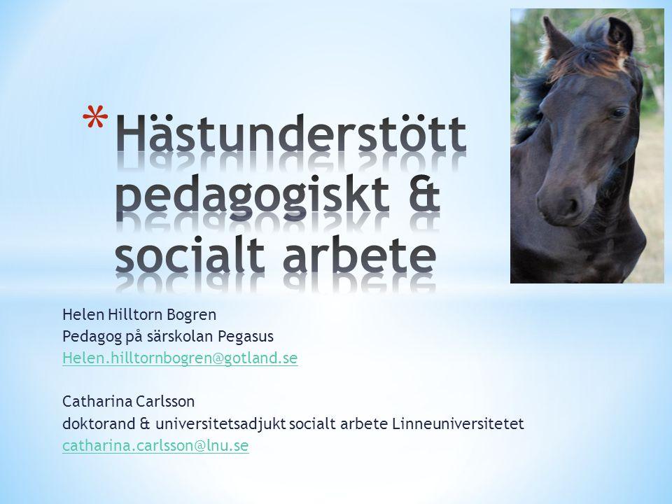 Helen Hilltorn Bogren Pedagog på särskolan Pegasus Helen.hilltornbogren@gotland.se Catharina Carlsson doktorand & universitetsadjukt socialt arbete Li