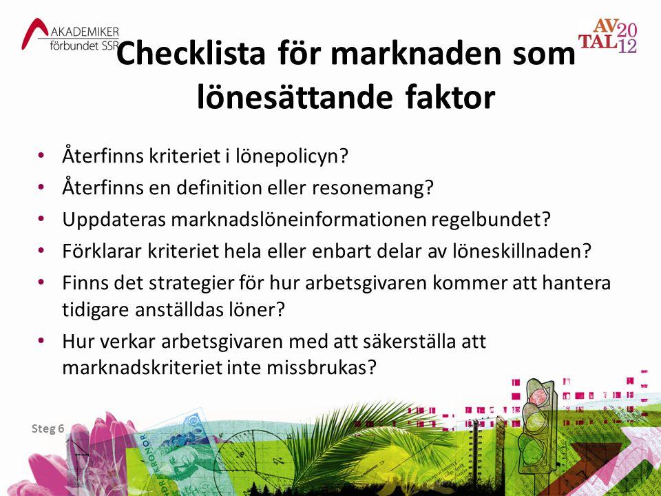 Checklista för marknaden som lönesättande faktor • Återfinns kriteriet i lönepolicyn? • Återfinns en definition eller resonemang? • Uppdateras marknad