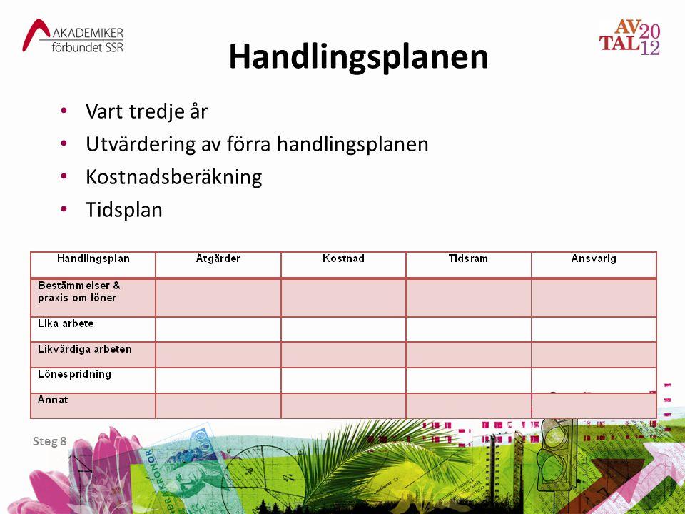 Handlingsplanen Steg 8 • Vart tredje år • Utvärdering av förra handlingsplanen • Kostnadsberäkning • Tidsplan