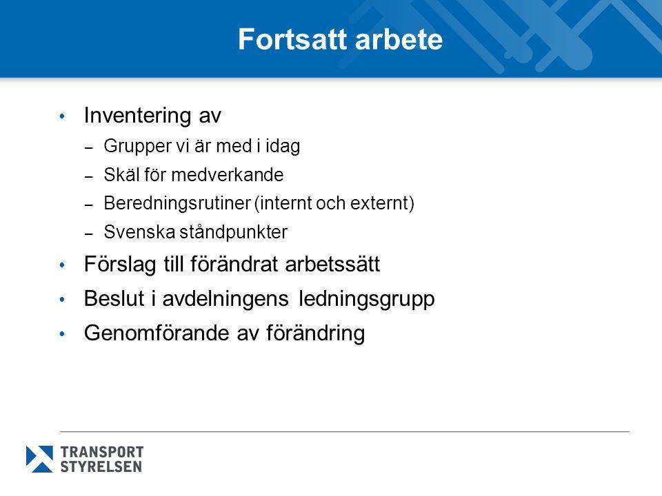 Fortsatt arbete • Inventering av – Grupper vi är med i idag – Skäl för medverkande – Beredningsrutiner (internt och externt) – Svenska ståndpunkter •