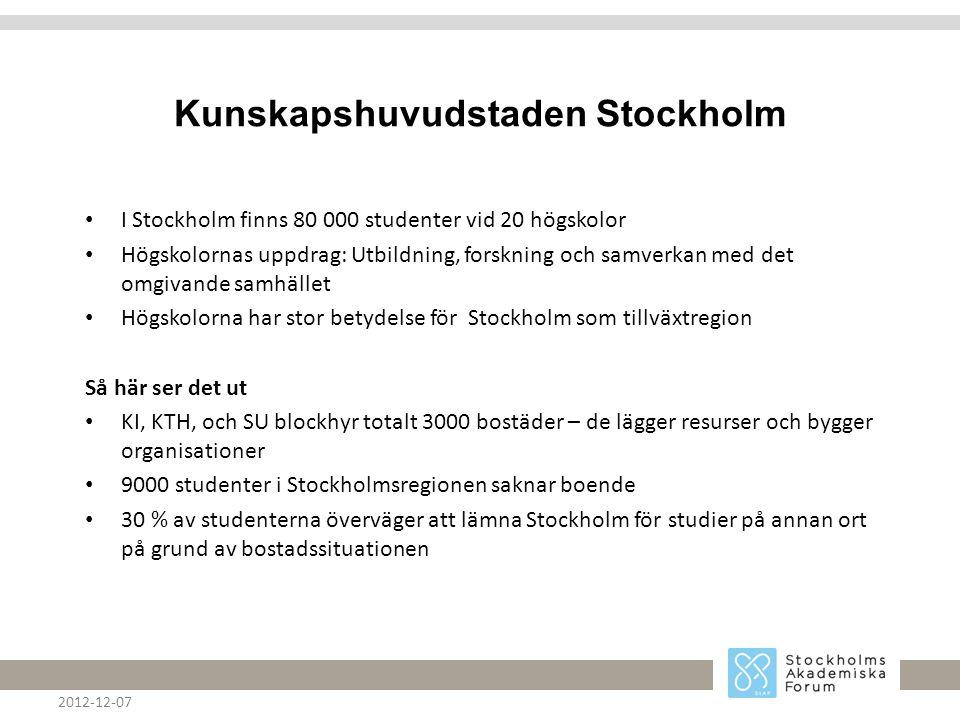 Kunskapshuvudstaden Stockholm • I Stockholm finns 80 000 studenter vid 20 högskolor • Högskolornas uppdrag: Utbildning, forskning och samverkan med det omgivande samhället • Högskolorna har stor betydelse för Stockholm som tillväxtregion Så här ser det ut • KI, KTH, och SU blockhyr totalt 3000 bostäder – de lägger resurser och bygger organisationer • 9000 studenter i Stockholmsregionen saknar boende • 30 % av studenterna överväger att lämna Stockholm för studier på annan ort på grund av bostadssituationen 2012-12-07