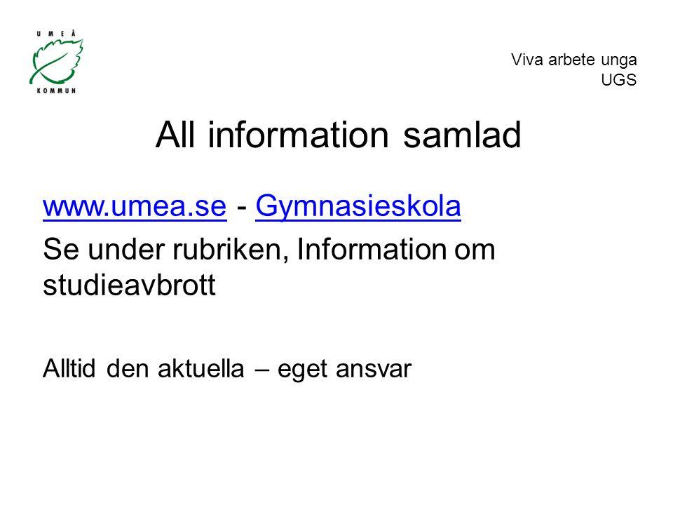 Viva arbete unga UGS All information samlad www.umea.sewww.umea.se - GymnasieskolaGymnasieskola Se under rubriken, Information om studieavbrott Alltid den aktuella – eget ansvar