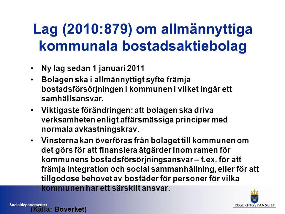 Socialdepartementet Lag (2010:879) om allmännyttiga kommunala bostadsaktiebolag •Ny lag sedan 1 januari 2011 •Bolagen ska i allmännyttigt syfte främja