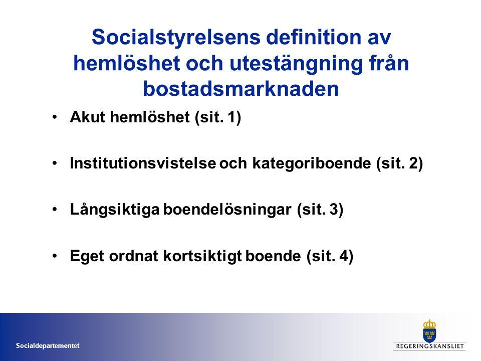 Socialdepartementet Socialstyrelsens definition av hemlöshet och utestängning från bostadsmarknaden •Akut hemlöshet (sit. 1) •Institutionsvistelse och