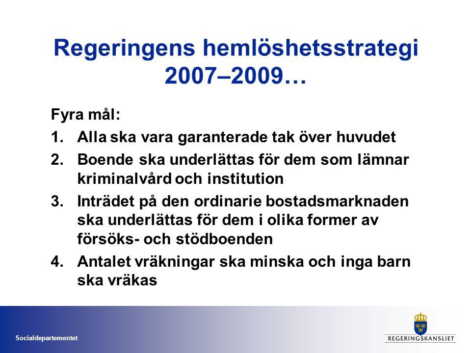 Socialdepartementet Regeringens hemlöshetsstrategi 2007–2009… Fyra mål: 1.Alla ska vara garanterade tak över huvudet 2.Boende ska underlättas för dem