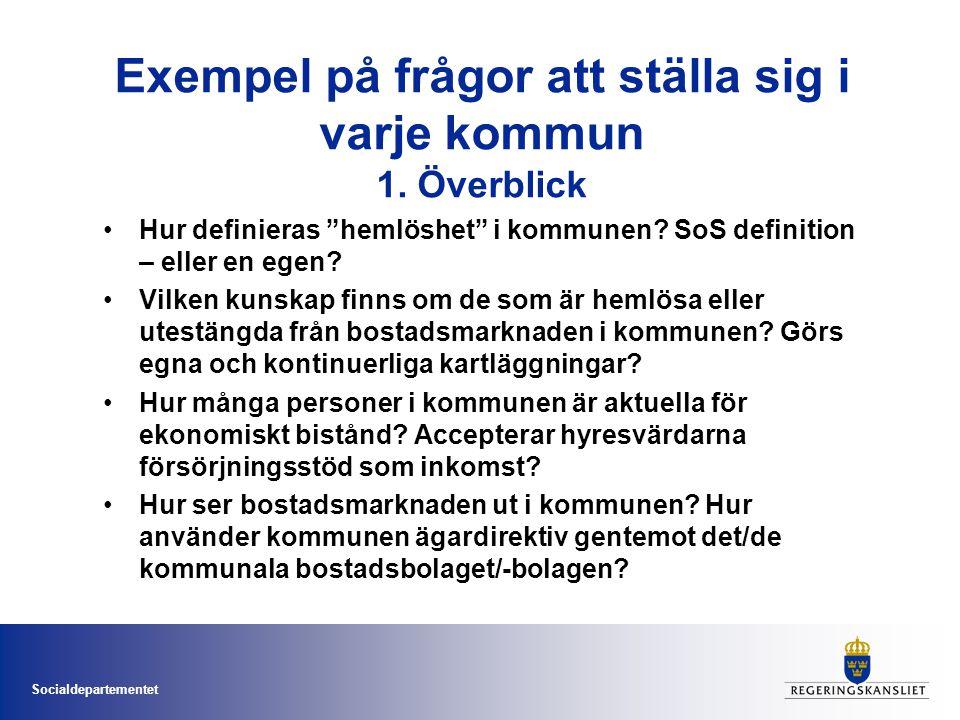 """Socialdepartementet Exempel på frågor att ställa sig i varje kommun 1. Överblick •Hur definieras """"hemlöshet"""" i kommunen? SoS definition – eller en ege"""