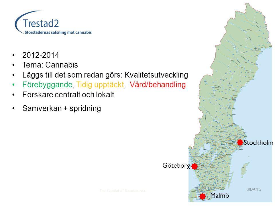 The Capital of Scandinavia •2012-2014 •Tema: Cannabis •Läggs till det som redan görs: Kvalitetsutveckling •Förebyggande, Tidig upptäckt, Vård/behandling •Forskare centralt och lokalt •Samverkan + spridning SIDAN 2 Stockholm Göteborg Malmö