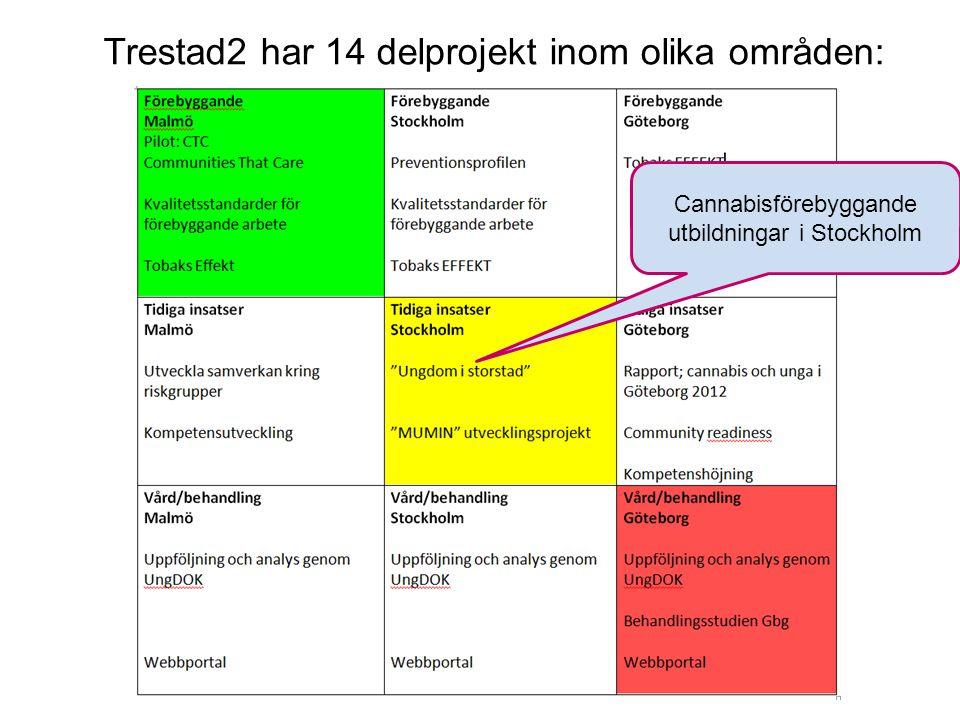 The Capital of Scandinavia Cannabisförebyggande utbildningar i Stockholm Trestad2 har 14 delprojekt inom olika områden: