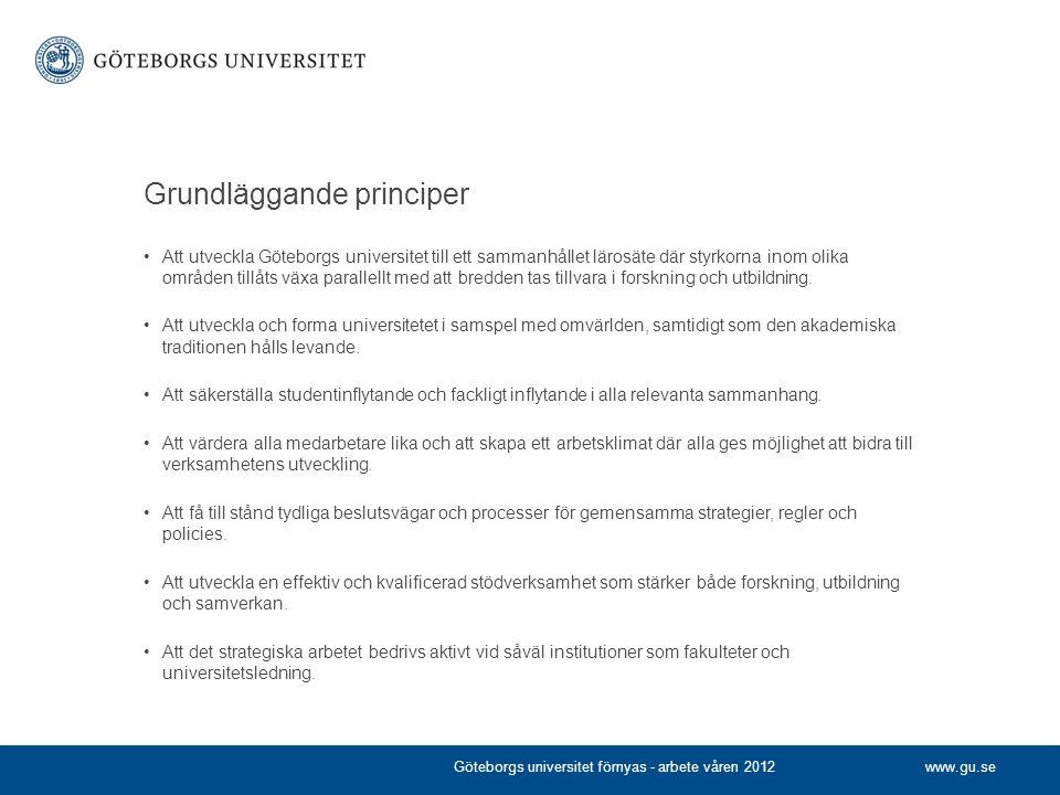 www.gu.se Grundläggande principer •Att utveckla Göteborgs universitet till ett sammanhållet lärosäte där styrkorna inom olika områden tillåts växa par