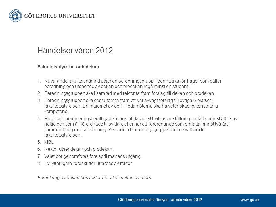 www.gu.se Händelser våren 2012 Fakultetsstyrelse och dekan 1.Nuvarande fakultetsnämnd utser en beredningsgrupp. I denna ska för frågor som gäller bere