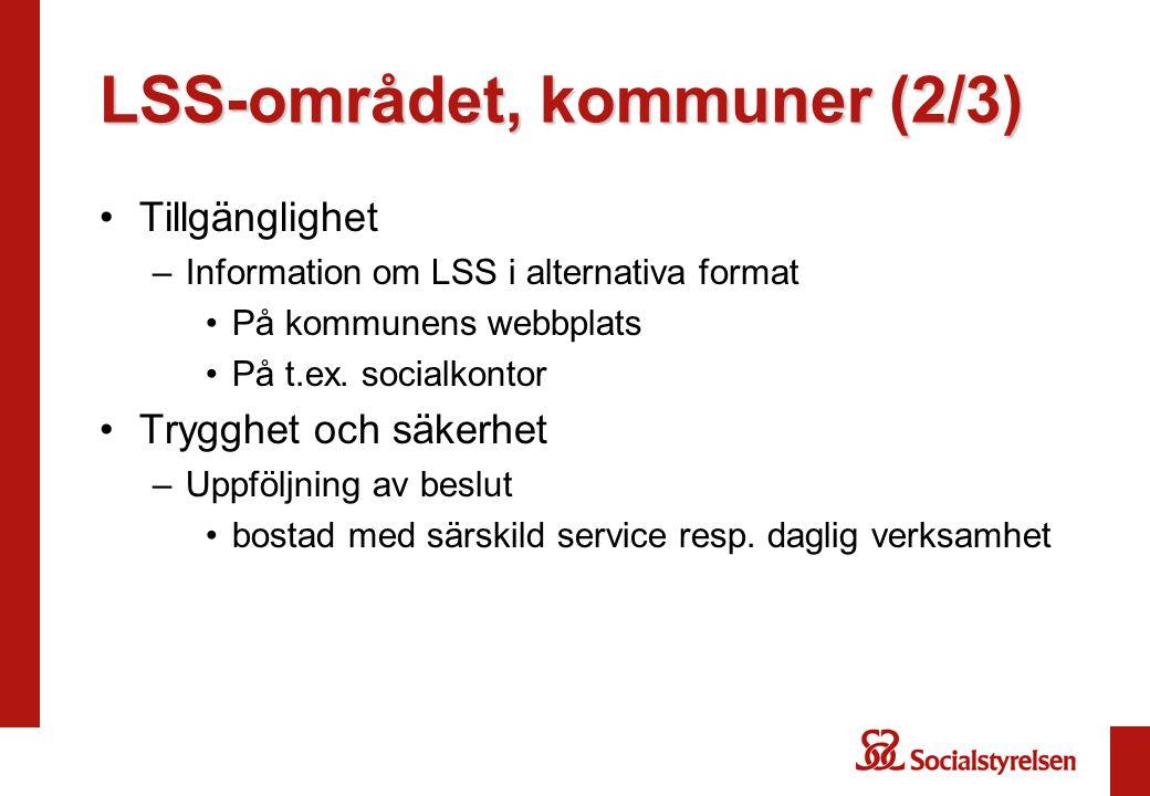 LSS-området, kommuner (2/3) •Tillgänglighet –Information om LSS i alternativa format •På kommunens webbplats •På t.ex.
