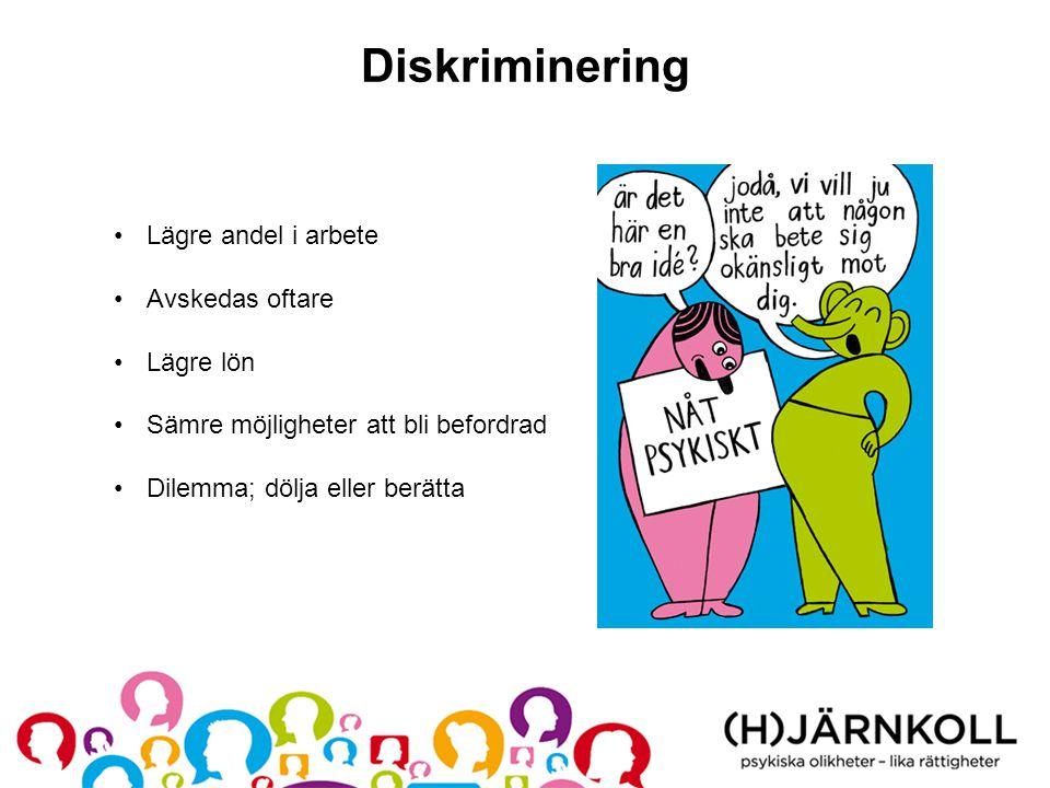 Diskriminering •Lägre andel i arbete •Avskedas oftare •Lägre lön •Sämre möjligheter att bli befordrad •Dilemma; dölja eller berätta
