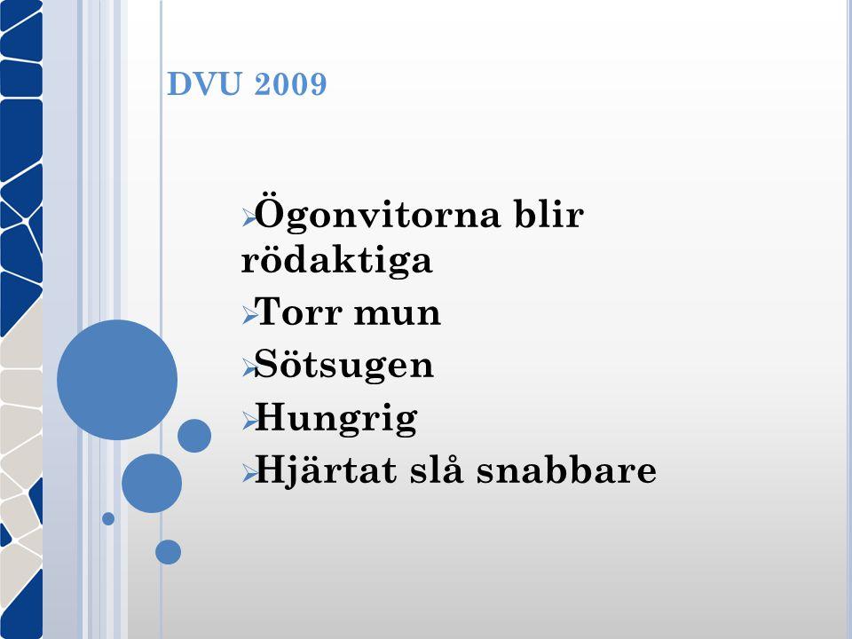 DVU 2009  Ögonvitorna blir rödaktiga  Torr mun  Sötsugen  Hungrig  Hjärtat slå snabbare