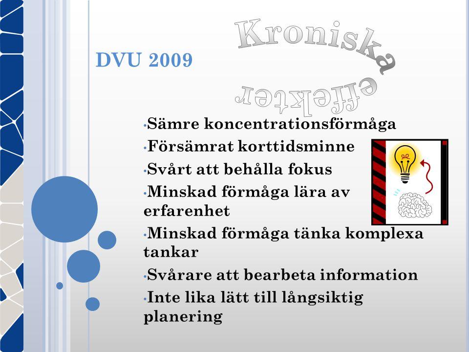 DVU 2009 • Sämre koncentrationsförmåga • Försämrat korttidsminne • Svårt att behålla fokus • Minskad förmåga lära av erfarenhet • Minskad förmåga tänk