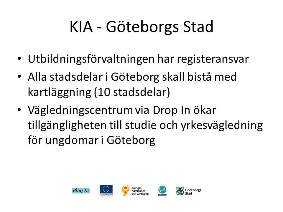 KIA - Göteborgs Stad • Utbildningsförvaltningen har registeransvar • Alla stadsdelar i Göteborg skall bistå med kartläggning (10 stadsdelar) • Vägledningscentrum via Drop In ökar tillgängligheten till studie och yrkesvägledning för ungdomar i Göteborg