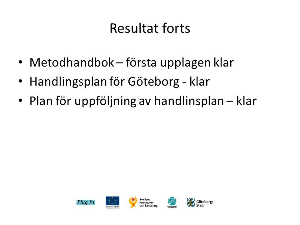 Resultat forts • Metodhandbok – första upplagen klar • Handlingsplan för Göteborg - klar • Plan för uppföljning av handlinsplan – klar