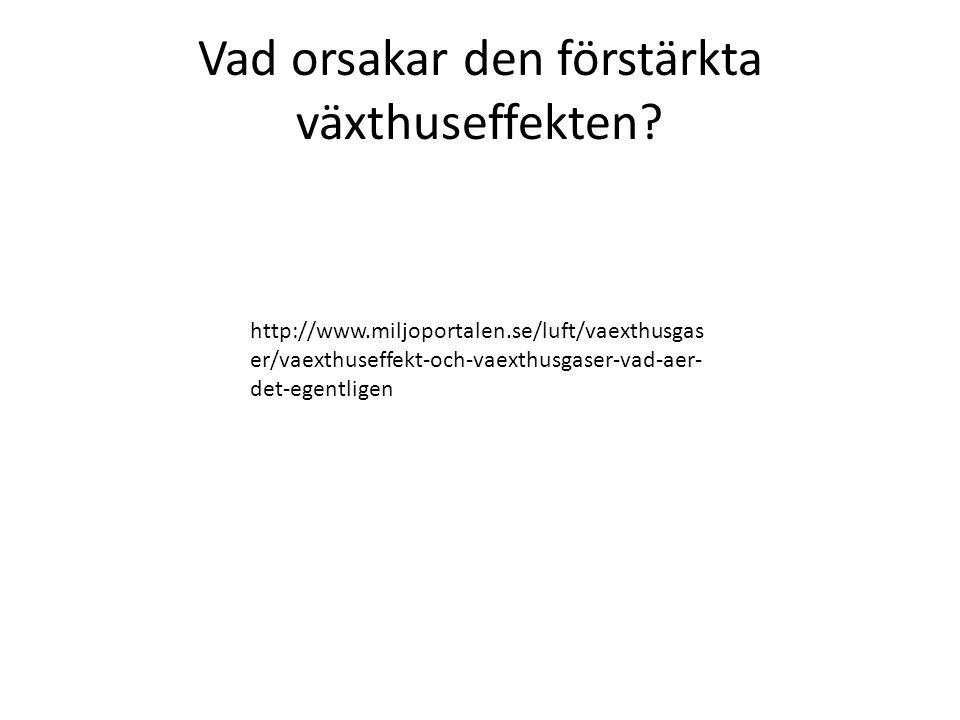 Vad orsakar den förstärkta växthuseffekten? http://www.miljoportalen.se/luft/vaexthusgas er/vaexthuseffekt-och-vaexthusgaser-vad-aer- det-egentligen
