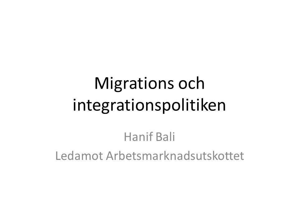 Migrations och integrationspolitiken Hanif Bali Ledamot Arbetsmarknadsutskottet