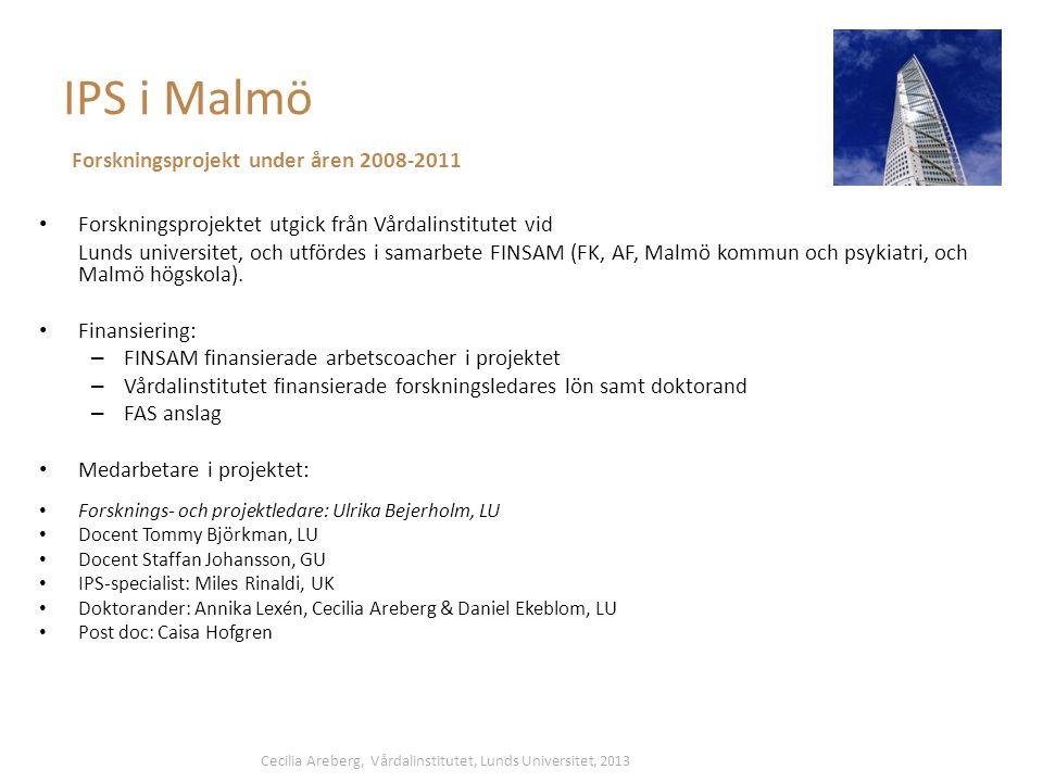IPS i Malmö • Forskningsprojektet utgick från Vårdalinstitutet vid Lunds universitet, och utfördes i samarbete FINSAM (FK, AF, Malmö kommun och psykiatri, och Malmö högskola).