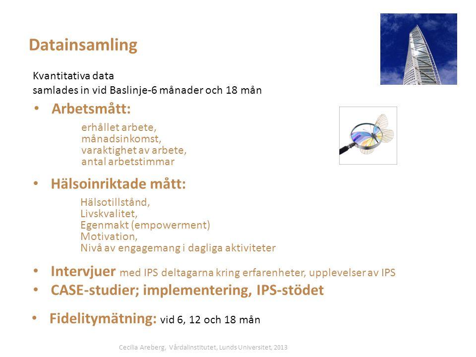 Datainsamling Kvantitativa data samlades in vid Baslinje-6 månader och 18 mån • Arbetsmått: erhållet arbete, månadsinkomst, varaktighet av arbete, antal arbetstimmar • Hälsoinriktade mått: Hälsotillstånd, Livskvalitet, Egenmakt (empowerment) Motivation, Nivå av engagemang i dagliga aktiviteter • Fidelitymätning: vid 6, 12 och 18 mån • Intervjuer med IPS deltagarna kring erfarenheter, upplevelser av IPS • CASE-studier; implementering, IPS-stödet Cecilia Areberg, Vårdalinstitutet, Lunds Universitet, 2013