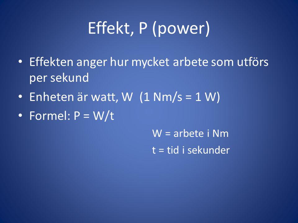 Effekt, P (power) • Effekten anger hur mycket arbete som utförs per sekund • Enheten är watt, W (1 Nm/s = 1 W) • Formel: P = W/t W = arbete i Nm t = t