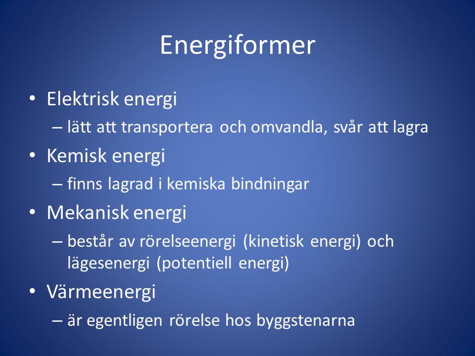 Energiformer • Elektrisk energi – lätt att transportera och omvandla, svår att lagra • Kemisk energi – finns lagrad i kemiska bindningar • Mekanisk en