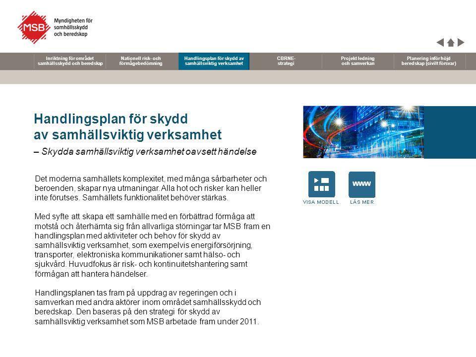 Nationell risk- och förmågebedömning Handlingsplan för skydd av samhällsviktig verksamhet CBRNE- strategi Projekt ledning och samverkan Planering infö