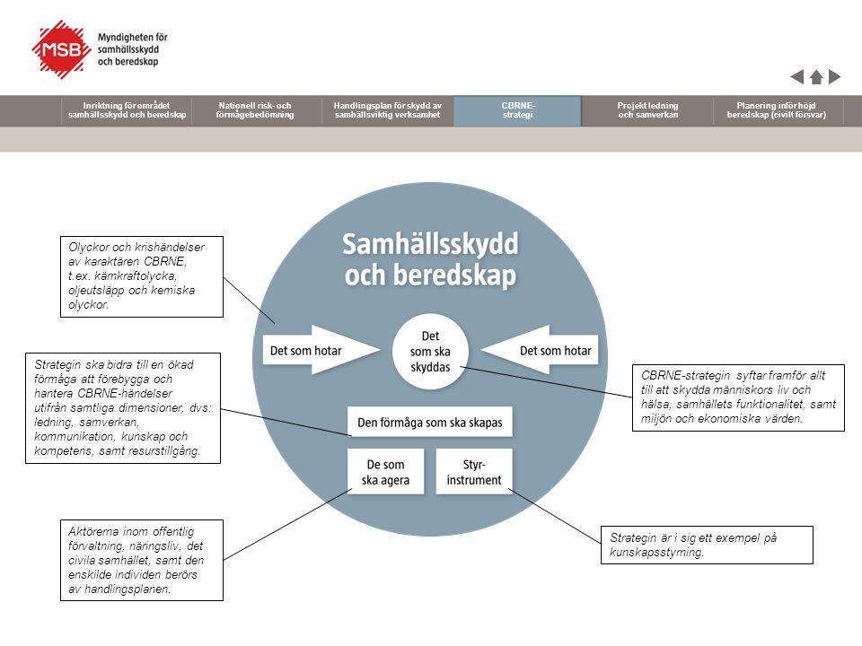 Nationell risk- och förmågebedömning Handlingsplan för skydd av samhällsviktig verksamhet CBRNE- strategi Projekt ledning och samverkan Planering inför höjd beredskap (civilt försvar) Inriktning för området samhällsskydd och beredskap Erfarenheter från olyckor, kriser och övningar visar på ett behov att öka individers och organisationers förmåga att leda och samverka tillsammans.
