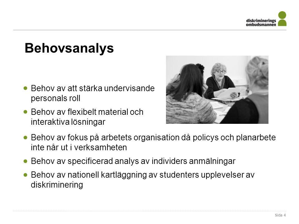 Behovsanalys  Behov av att stärka undervisande personals roll  Behov av flexibelt material och interaktiva lösningar Sida 4  Behov av fokus på arbe