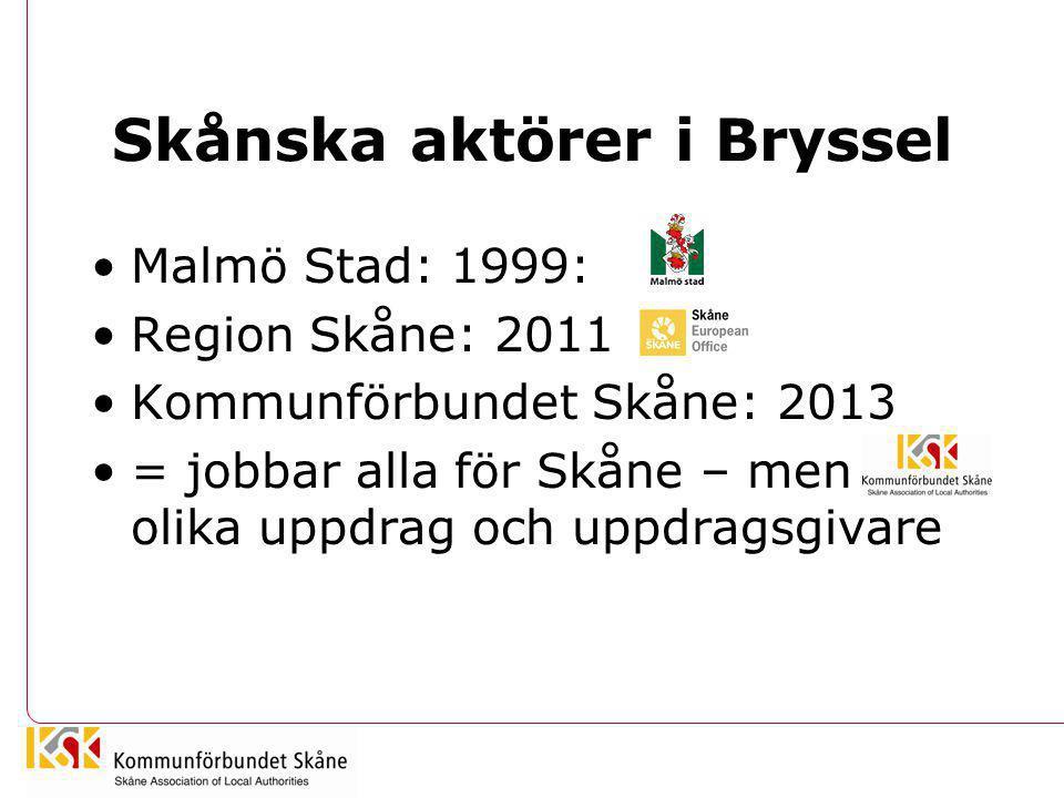 Skånska aktörer i Bryssel •Malmö Stad: 1999: •Region Skåne: 2011 •Kommunförbundet Skåne: 2013 •= jobbar alla för Skåne – men olika uppdrag och uppdrag