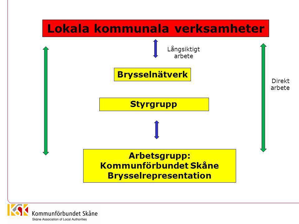 Lokala kommunala verksamheter Arbetsgrupp: Kommunförbundet Skåne Brysselrepresentation Styrgrupp Brysselnätverk Direkt arbete Långsiktigt arbete