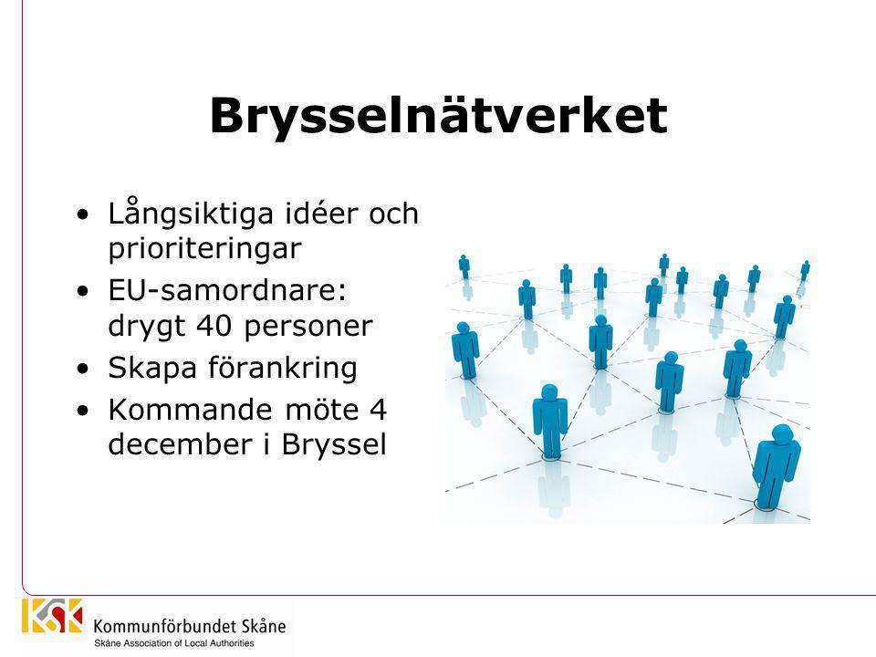 Brysselnätverket •Långsiktiga idéer och prioriteringar •EU-samordnare: drygt 40 personer •Skapa förankring •Kommande möte 4 december i Bryssel