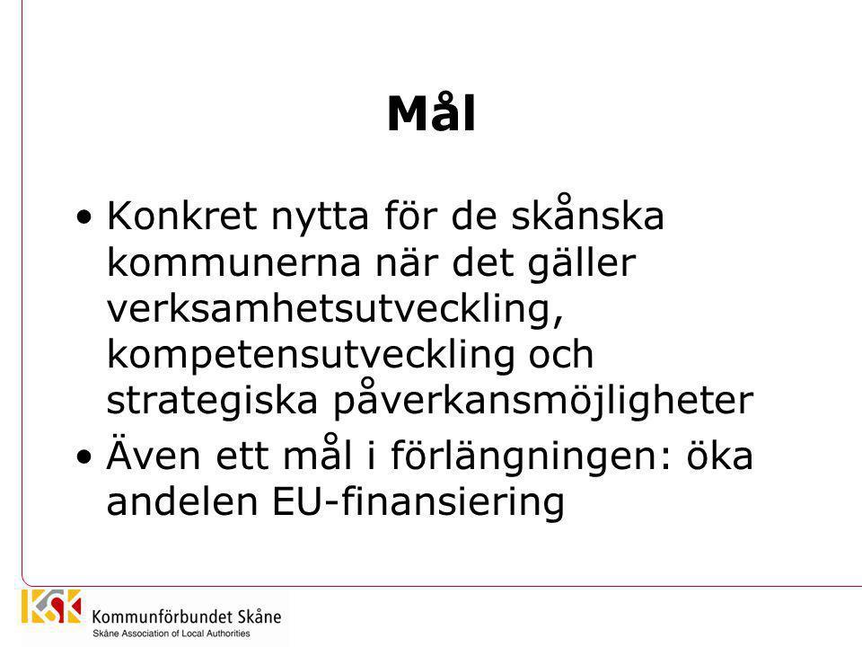 Nytta •Större möjligheter till ett proaktivt och strategiskt arbetssätt •Precis och tidig information •Nya kontaktnät = inflytande •Riktade insatser mot sektorsprogrammen •Förstärkning av skånska intressen i Bryssel